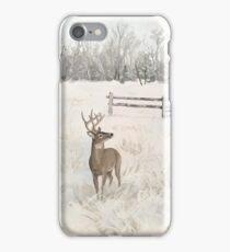 Snowy Deer Scene iPhone Case/Skin