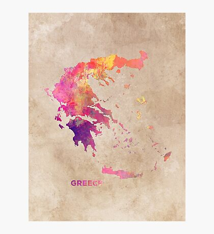Greece map #greece #map Photographic Print