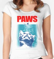Paws, Cat parody Women's Fitted Scoop T-Shirt
