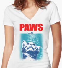 Paws, Cat parody Women's Fitted V-Neck T-Shirt