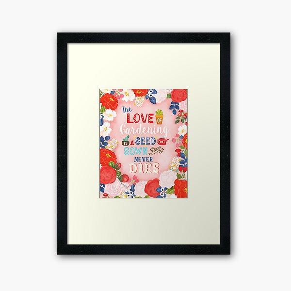 Rose Garden Hand Lettering & Illustration Framed Art Print