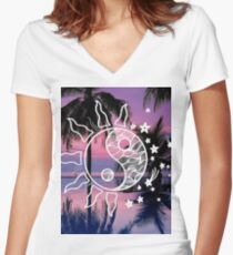Sun & Moon Yin Yang Women's Fitted V-Neck T-Shirt