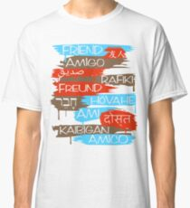 Friends From Other Ends - Poppy Red, Coral Blue, and Light Brown Classic T-Shirt