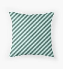 Celebration Town Green and White Small Candy Cane Stripes Throw Pillow