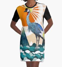 Crowned Crane Graphic T-Shirt Dress