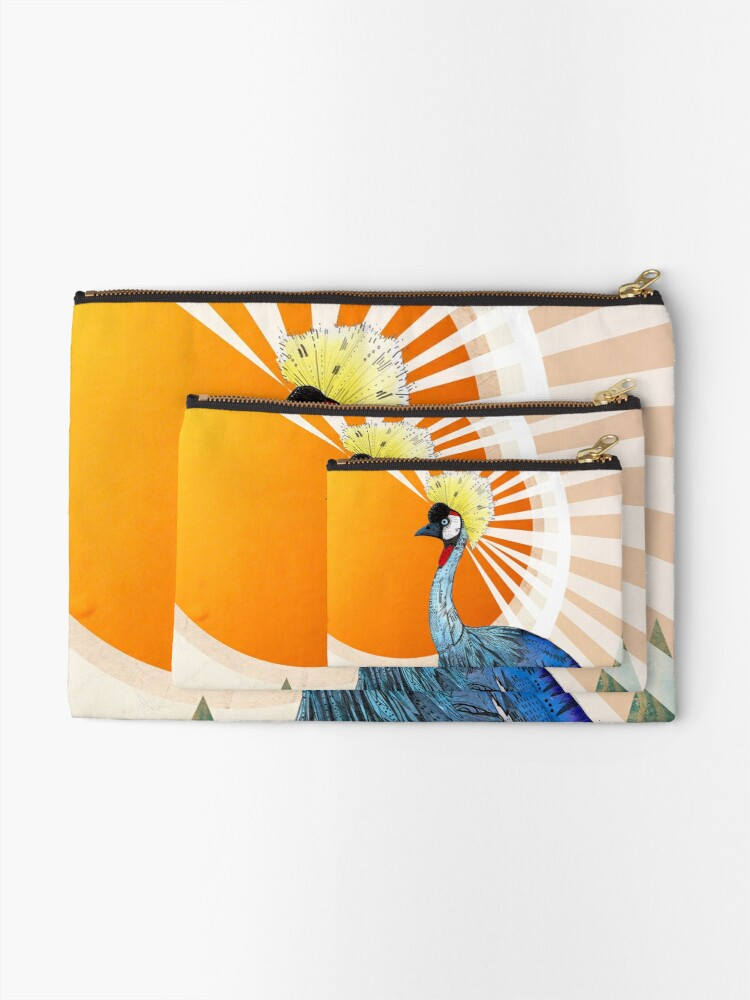 Alternate view of Crowned Crane Zipper Pouch