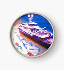 Luxury Yacht Against Pure Sunset Ocean Backdrop Clock