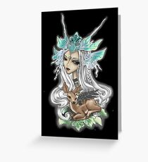 Fairy Siren with Fawn Black Greeting Card