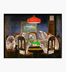 Hedgehogs Playing Poker Photographic Print
