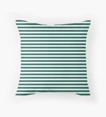 Celebration Town Dark Green and Front Porch White Small Horizontal Stripes Throw Pillow