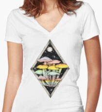Rainbow Mushrooms    Psychedelic Illustration by Chrysta Kay Women's Fitted V-Neck T-Shirt