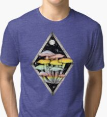 Rainbow Mushrooms || Psychedelic Illustration by Chrysta Kay Tri-blend T-Shirt