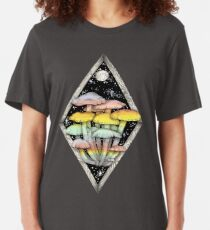 Rainbow Mushrooms || Psychedelic Illustration by Chrysta Kay Slim Fit T-Shirt