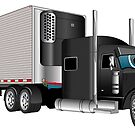 Black Semi Truck with Trailer by Graphxpro