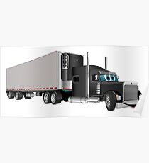 Black Semi Truck with Trailer Poster