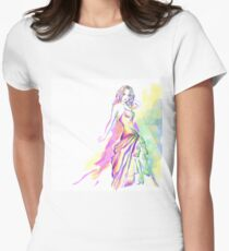 digital painting fashion beauty Womens Fitted T-Shirt
