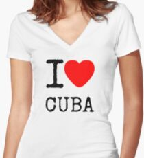 I lOVE CUBA Women's Fitted V-Neck T-Shirt