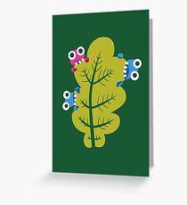 Cute Bugs Eat Green Leaf Greeting Card