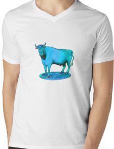 Blue bull graphic design Mens V-Neck T-Shirt