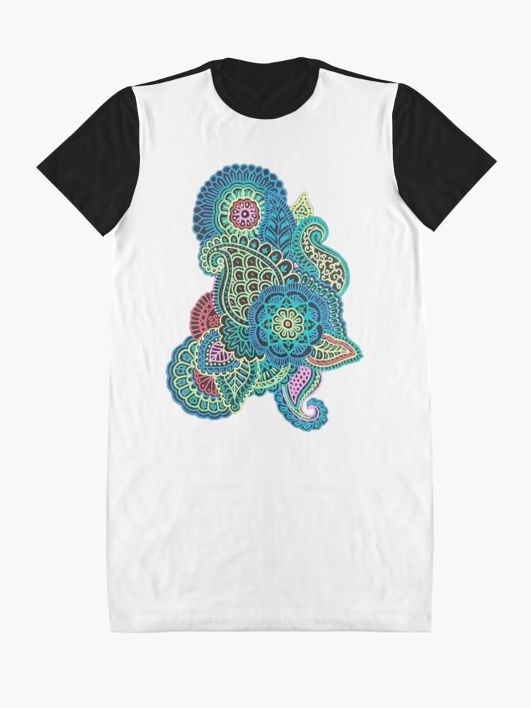 Alternative Ansicht von Bunter Zendoodle T-Shirt Kleid