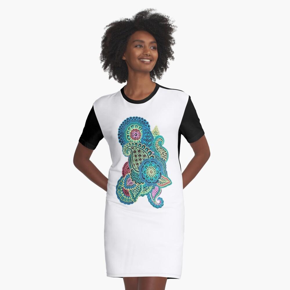 Bunter Zendoodle T-Shirt Kleid