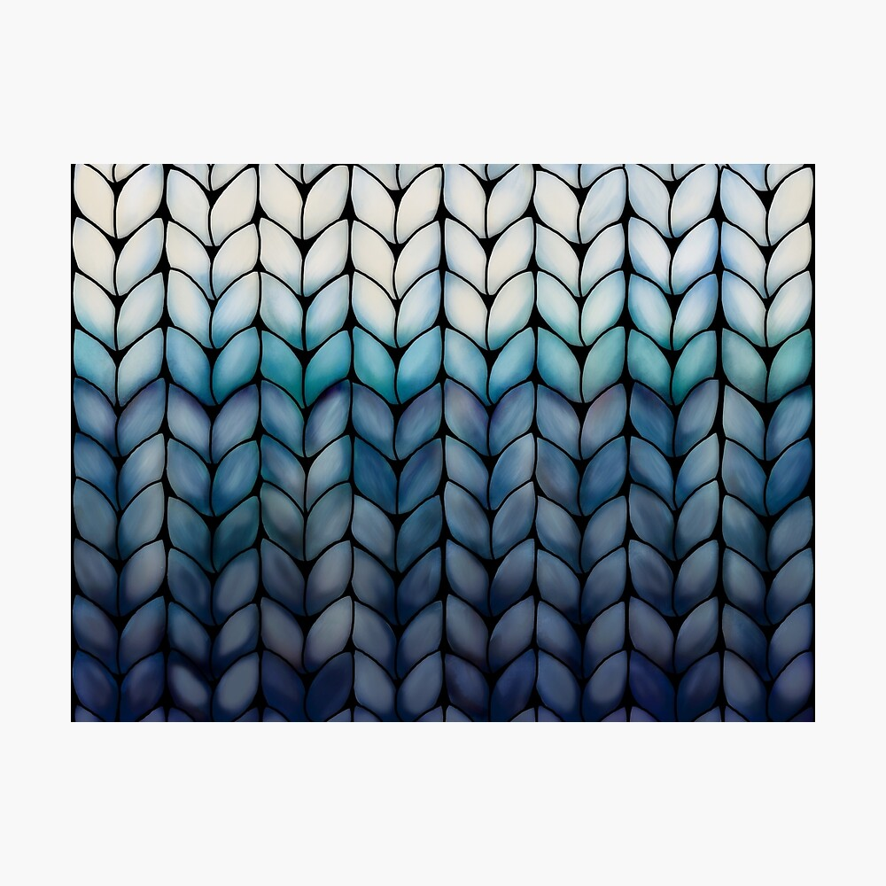 Chunky Ocean Blue Knit Photographic Print