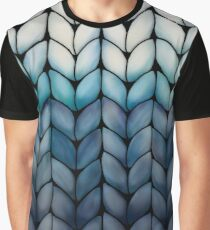 Chunky Ocean Blue Knit Graphic T-Shirt
