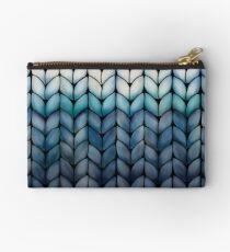 Chunky Ocean Blue Knit Studio Pouch