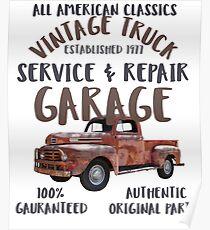Vintage Truck Service Repair Garage Poster