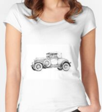 Old classic car retro vintage 01 Women's Fitted Scoop T-Shirt