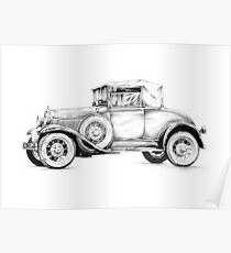Old classic car retro vintage 01 Poster