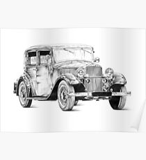 Old classic car retro vintage 02 Poster
