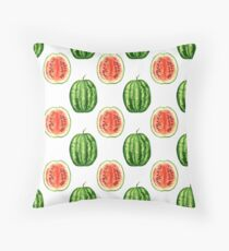 watercolor watermelon pattern Throw Pillow