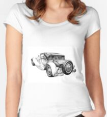Old classic car retro vintage 04 Women's Fitted Scoop T-Shirt