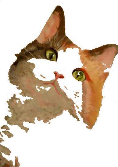 I'm All Ears - Cute Calico Cat Portrait by taiche