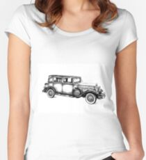 Old classic car retro vintage 05 Women's Fitted Scoop T-Shirt
