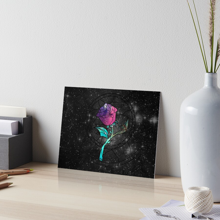 Stained Glass Rose Galaxy Art Board Print