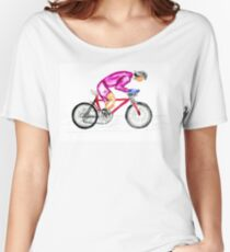 Cyclist watercolor Women's Relaxed Fit T-Shirt