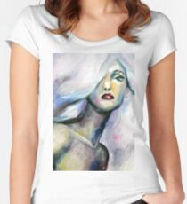 Acrylic painting of beautiful girl with light purple hair Women's Fitted Scoop T-Shirt