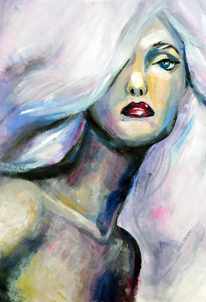 Acrylic painting of beautiful girl with light purple hair by oanaunciuleanu