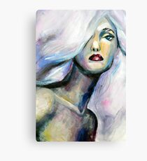 Acrylic painting of beautiful girl with light purple hair Canvas Print