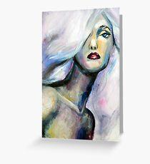 Acrylic painting of beautiful girl with light purple hair Greeting Card