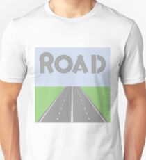 colorful illustration with grey road element background Unisex T-Shirt
