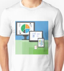 colorful illustration  with modern electronic  mobile devices on green and blue  background T-Shirt