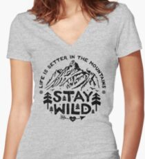 Stay Wild black Women's Fitted V-Neck T-Shirt