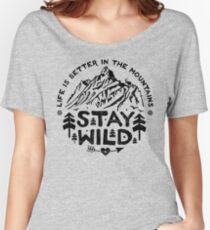 Camiseta ancha para mujer Stay Wild negro