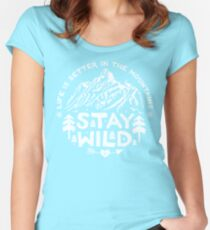 Stay Wild white Women's Fitted Scoop T-Shirt