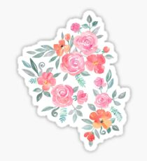 Amelia Floral in Pink and Peach Watercolor Sticker