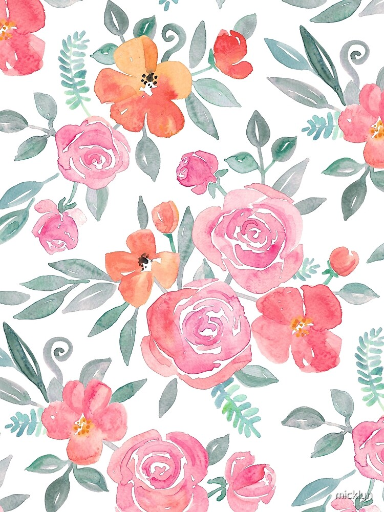 Amelia Floral in Pink and Peach Watercolor by micklyn