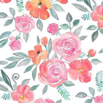Amelia Floral in Pink und Pfirsich Aquarell von micklyn